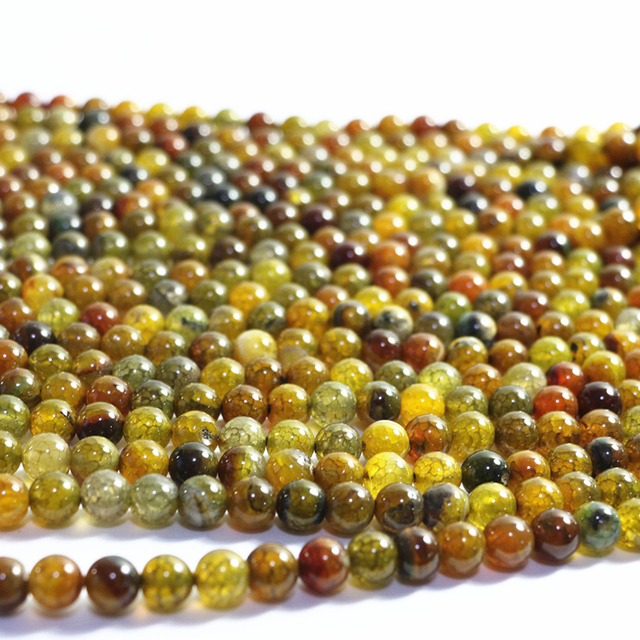 Fashion Natural Yellow Popcorn Stone carnelian onyx agat 6mm 8mm 10mm 12mm Round Loose Beads Jewelry Findings 15inch A35