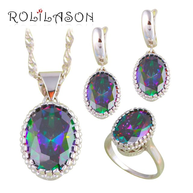 ROLILASON Rainbow Mystic Zircon Silver Stamped Jewelry Sets Earrings Pendant Necklace Rings for Lover Fashion Jewelry JS670