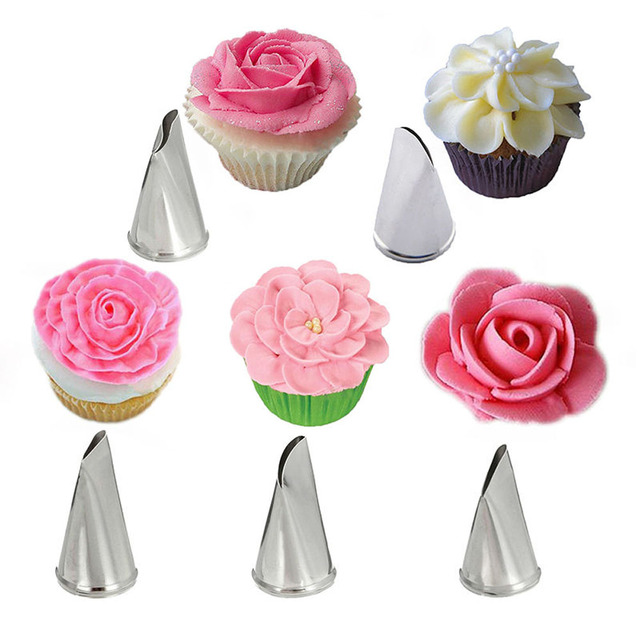 5 Pcs/Set Stainless Steel Icing Piping Nozzles Icing Piping Nozzles Rose Petal Cake Decorating Tips Russian Baking DIY Decorate