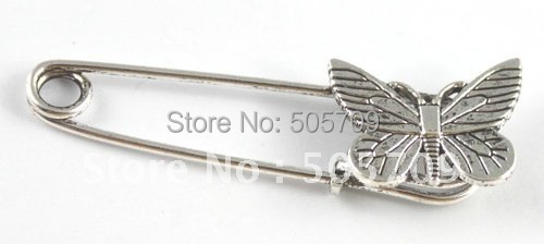60PCS Tibetan silver butterfly Safety Pin Brooch A15548