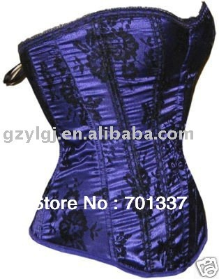 Sexy Lingerie Lace Up Basque Corset  Party Wear AM2323 blue Size S--XL