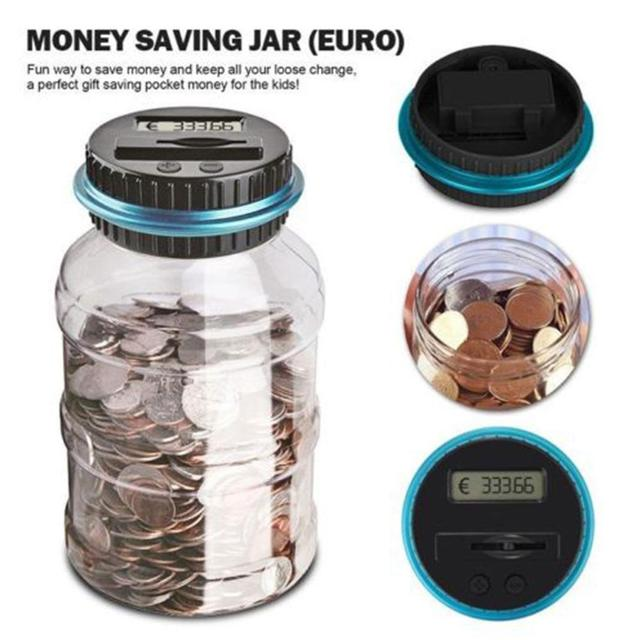Luminous Piggy Bank Counter Coin Electronic Digital LCD Counting Coin Money Saving Box Jar Coins Storage Box For EURO GBP Money