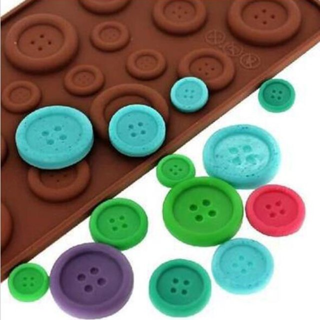 Lovely Button Shape Cake Mould Cookie Fondant Decoration Mould Chocolate Silicone Mold Baking Tray Mousse Tools Silicone Cake