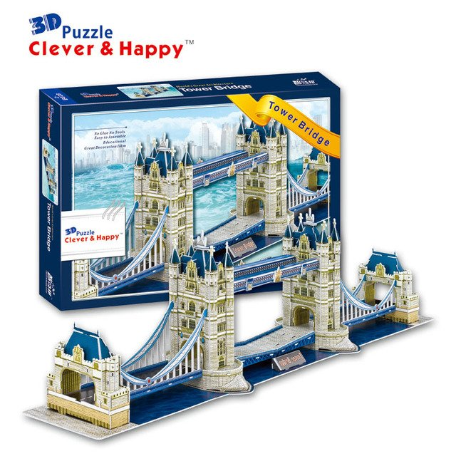 2014 new clever&happy land 3d puzzle model Tower Bridge adult puzzle diy model for boy paper learning & education