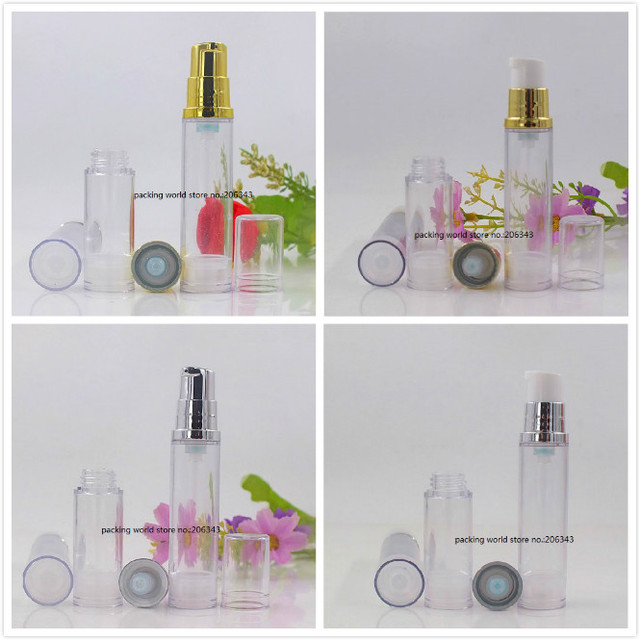 10ML clear plastic airless bottle with gold/silver pump clear lid for lotion/emulsion/serum/eye essence/toner skin care packing