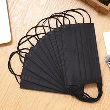 10pcs/pack Black Non Woven Disposable Face Mask Unisex 3/4 Layer Medical Dental Activated Carbon Anti-Dust Face Mouth-muffle