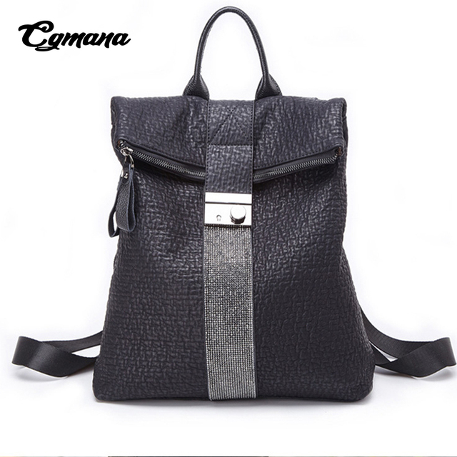 CGMANA High Quality Soft Leather Backpacks Female 2018 Vintage Diamond Backpacks School Bags For Teenage Women Travel Backpacks