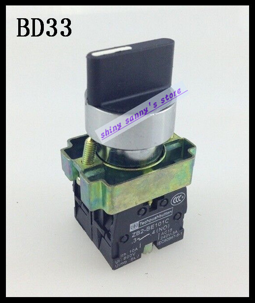 10Pcs/Lot XB2-BD33 3 Position 2NO Maintained Select Selector Switch Brand New