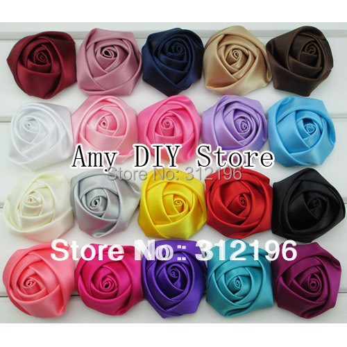 MyAmy 500pcs/lot 1.8''-2'' satin rolled rosettes flower girls boutique ribbon rose flowers for kids accessories