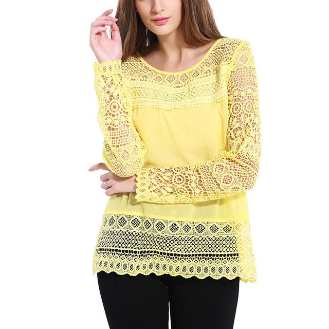2017 New Blusas Yellow Hollow Out Lace Chiffon Blouses Spring Summer Long Sleeve Tops Women Shirts Blouses Plus Size