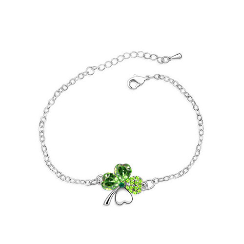 Austrian Crystal Clover 4 leaf leaves Link bracelet Bangle fashion jewelry charms women girls dropshipping office quality
