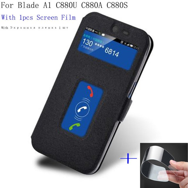 2PCS Smart View window leather case For ZTE Blade A1 A 1 C880U C880A C880S cover shell phone cases BladeA1 flip case back cover