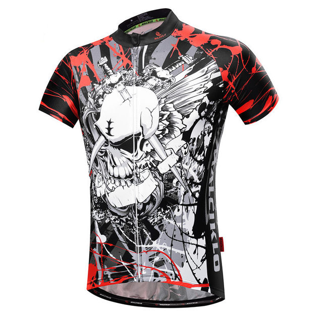 New Skull Sport Cycling Clothing Bicycle short sleeve Anime cycling jersey Bike Ghost wolf T-shirt Ropa Ciclismo MTB Jerseys