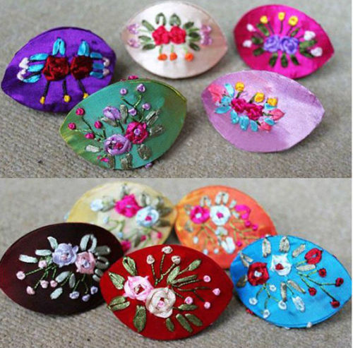 Wholesale 10pcs Chinese Vintage Open Mouth Smile Embroidered Silk Jewelry Box