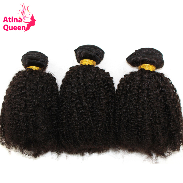 Mongolian Afro Kinky Curly Hair Weave Bundles 100% Remy Human Hair Extensions 3 Pieces Atina Queen Hair Products Natural Color