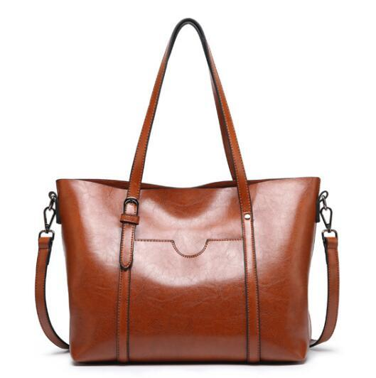 Women bag Oil wax Women's Leather Handbags Luxury Lady Hand Bags With Purse Pocket Women messenger bag Big Tote Sac Bols
