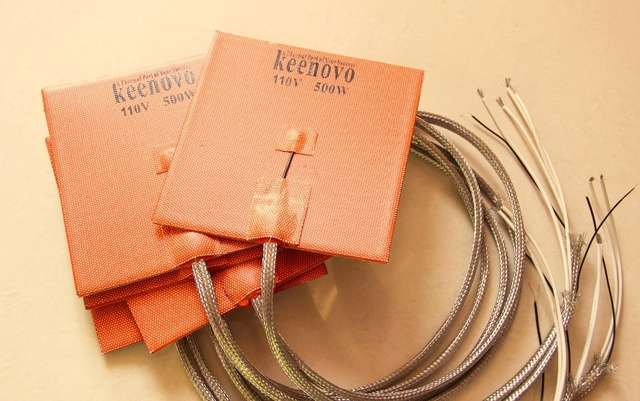 Keenovo Silicone Rubber Heater 150mmX150mm, 500W 110V, 1m leads and K type thermocouples w/ stainless steel braided sleeve