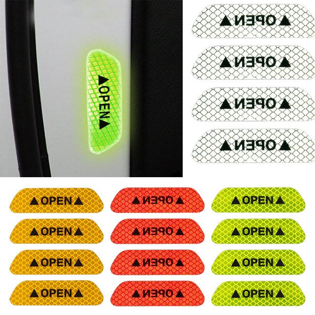Door Open Sticker DIY Paint Protection Truck Durable Car Decoration Car Styling Door 4pcs Safety Warning Reflective Tape