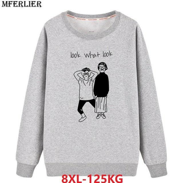 men Sweatshirts hipster 8XL large size big 5XL 6XL 7XL character letter pull over coat cotton autumn homme Sweatshirts o-neck