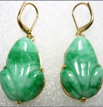 Nobility Pretty Tibet  Stylish Green gem Carved Frog earring Earrings 925 noble lady's