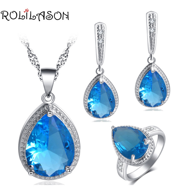 ROLILASON For Girl Romantic Light Blue Zircon Water Drop Design silver plated Stamped Earrings Necklace Rings Jewelry Sets JS745