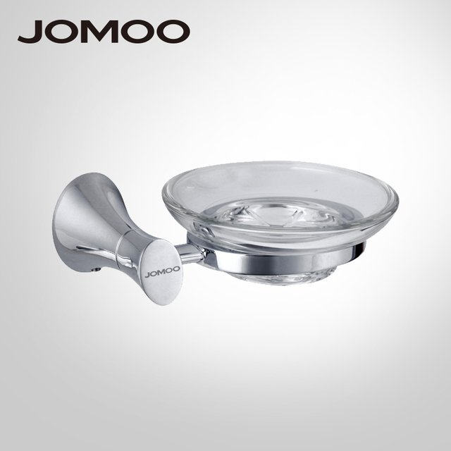 JOMOO Wall Mounted Soap Dish Zinc Alloy Chrome Soap Holder With Glass Dish Soap basket Bathroom Accessories Products Soap Box