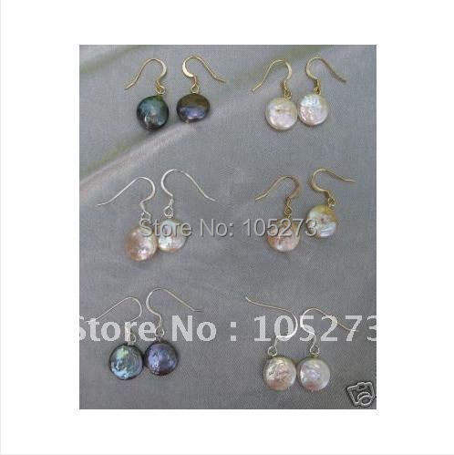 Charming!Pearl Earring Coin shaper Genuine Freshwater pearl 10-12mm & S925 sterling silvers hook earring 6pair/lot New Arrive