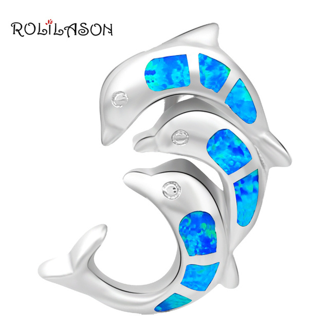 Jumping dolphins Wholesale Retail  Blue Fire Opal Silver Stamped Gift Party Pendants Fashion jewelry OP231