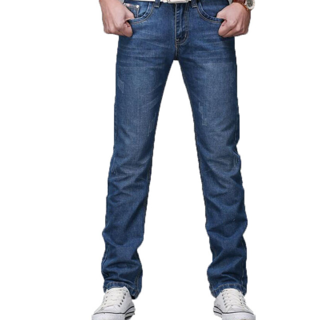 2018 Men Jeans Business Casual Thin Summer Straight Slim Fit Blue Jeans Stretch Denim Pants Trousers Classic Cowboys Young Man