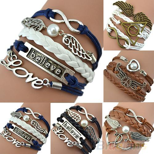 Hot Attractive Wome Men Mix Multilayer Wig Love bracelet Angel Wings Owl Deathly Hallows Chain 753G 7EIH BEF4