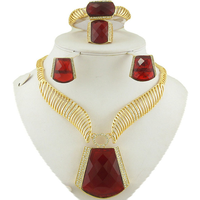 wedding jewelry sets african women necklace jewelry party  jewelry sets big  fashion jewelry set  gold women necklace