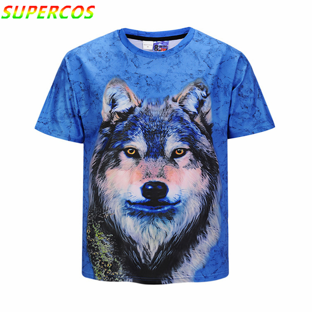 Free Shipping! Newest Good Quality Summer 3D Wolf Head Print Cool Comfortable High Street Short Sleeve T-shirt