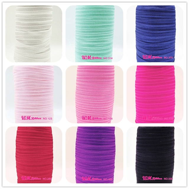 Q&N ribbon wholesale/OEM 5/8inch 15mm solid design folded over elastic FOE for hair tie free shipping