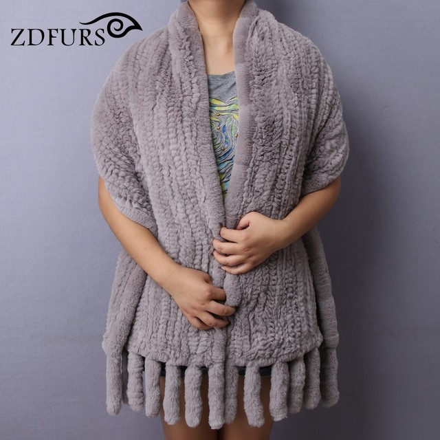 ZDFURS*Real Rex Rabbit Fur Scarf With Tassel Knitted Natural Rabbit Fur Poncho Women Warm Thick Genuine Fur Shawls High Quality