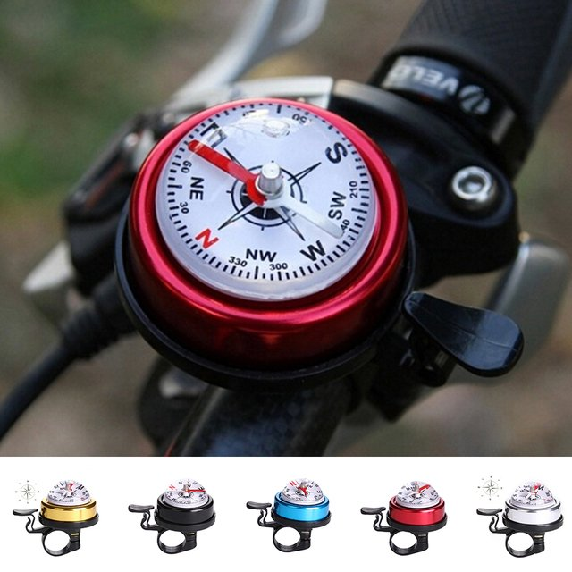 1 PCS Aluminium alloy metal bike handlebar bell ring with compass cycling sport bicycle accessories 5 colors