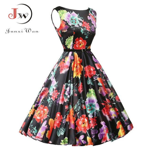 vestido  Long Summer Dress Women Vintage Robe ete Audrey Hepburn Rockabilly Retro Sleeveless Print Party dresses Vestidos
