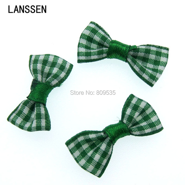 50Pcs Green Handmade Grillwork Satin Ribbon Grid Bowknot Ribbons Applique Craft Wedding Bow Tie DIY Decorations 3.0x1.5cm