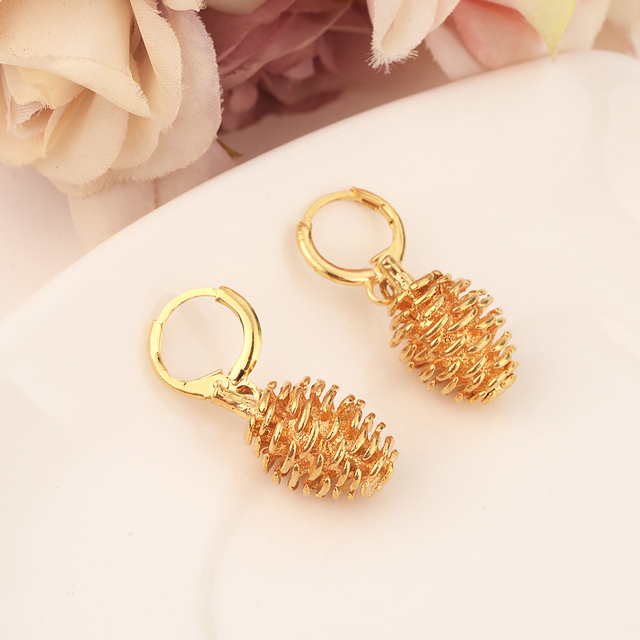 Gold Color Jewelry Fashion Cute heavy hazelnut drop Earrings Christmas  Gift For Girls Kids Lady wedding bridal party jewelry