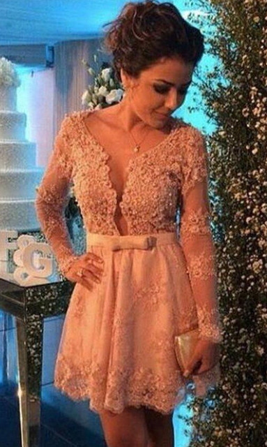 Long Sleeves Elegant Cocktail Dresses A-line V-neck Short Mini Lace Pearls Party Plus Size Homecoming Dresses
