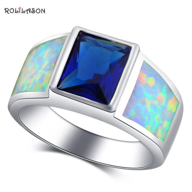 ROLILASON Anniversary Blue Zircon Design White Fire Opal  Silver Fashion Jewelry Rings USA Size #6#7#8#9#10 OR886