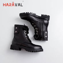 HARAVAL Handmade Winter Women Ankle Boots Luxury Genuine Leather Round Toe Low Heel Lace-up Shoes Solid Casual Martin Boot B184