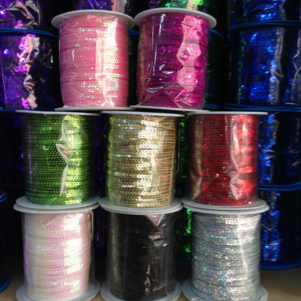 High-temperature ( 3MM/w 100Yards/pc ) PVC Colorful Spangle Sequins Paillette String Jewelry Cord & Rope Jewelry Findings