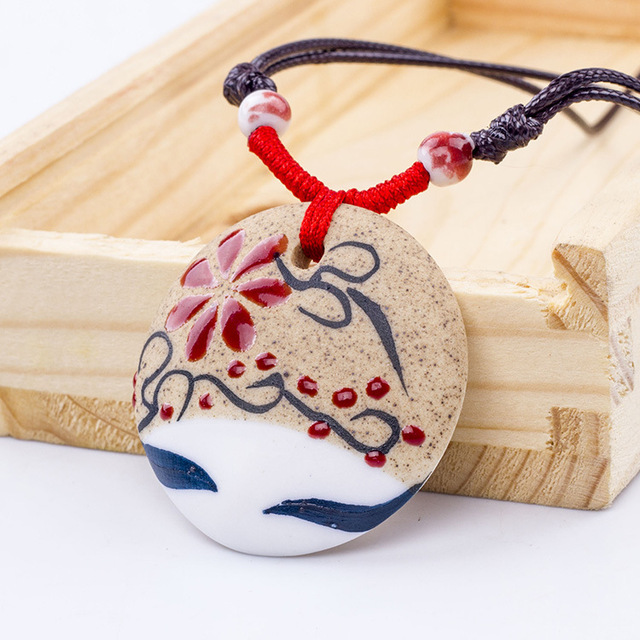 FREE SHIPPING Retro Pastoral Style Beauty Sleepy Face Hand-painted Earthenware Ceramics Beads Necklace Porcelain Ethnic Jewelry