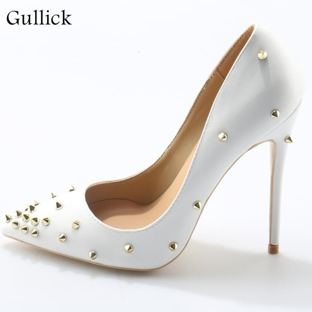Sexy White High Heel Pumps Woman Rivet  Classics Pointed Toe Thin Heel Office Shoes Fashion Simple Graceful White Ladies Shoes