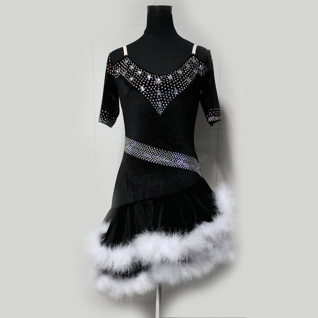New style latin dance costume sexy Velvet spandex latin dance competition dress for women child latin dance dresses S-4XL F27
