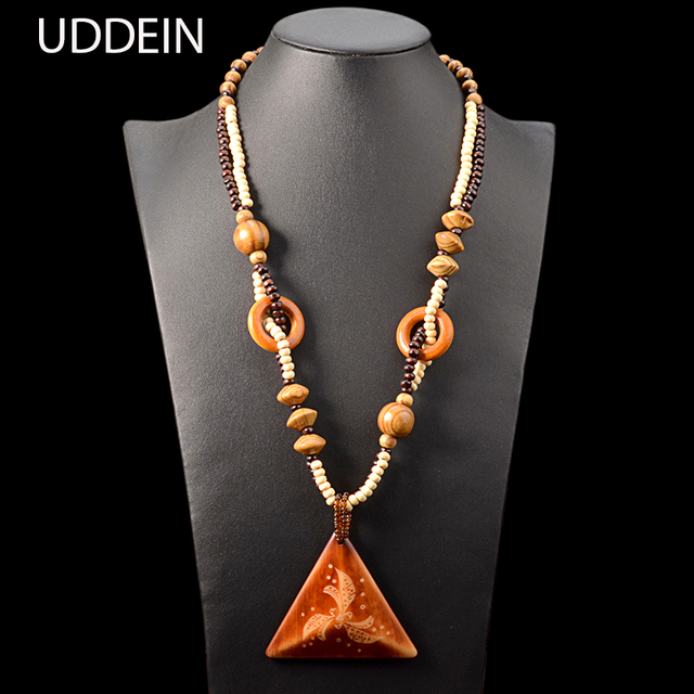 UDDEIN Long Pendant Necklace Women Bohemian Statement Jewelry Handmade Wedding Accessories Wholesale Wood Chain Maxi Necklace