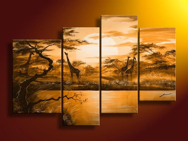hand-painted  oil wall art  Weak yellow African grassland decoration abstract  Landscape oil painting on canvas 4pcs/set frame