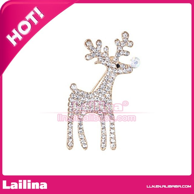 100pcs/lot Free Shipping Silver-tone Christmas Deer Brooch Pin With Clear Rhinestone Crystal