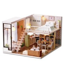 Room L-020-B Waiting For The Time DIY Handmake Dollhouse With Light Cover Music House Miniature Model Toy Gift