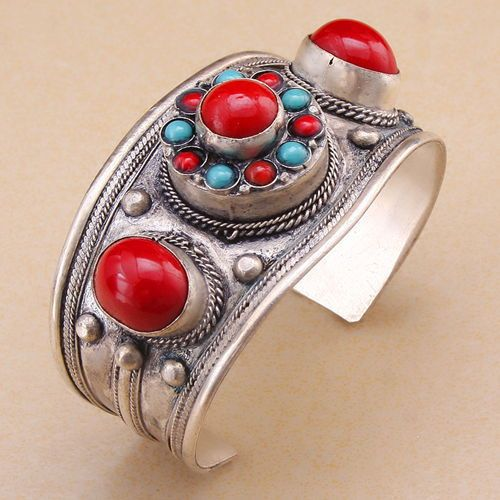 Lucky totem tibet silver inlay bling round coral cuff bracelet quality guarantee Adjustable Party Gift   &6YB00070